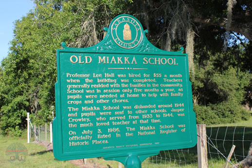 Historic Marker Back - Old Miakka Schoolhouse